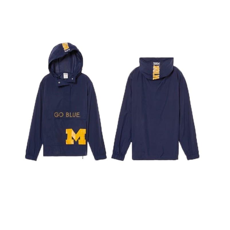 Victoria\'s Secret PINK Collegiate Collection Michigan Wolverines Go Blue Anorak - Navy blue