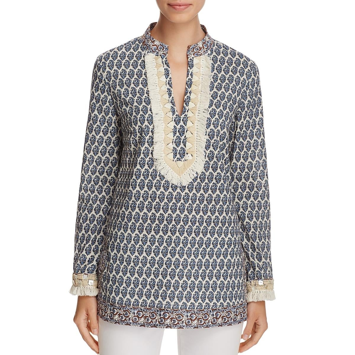 f30734ef15e5 Shop Tory Burch Womens Tunic Top Fringe Printed - On Sale - Free Shipping  Today - Overstock - 26419251
