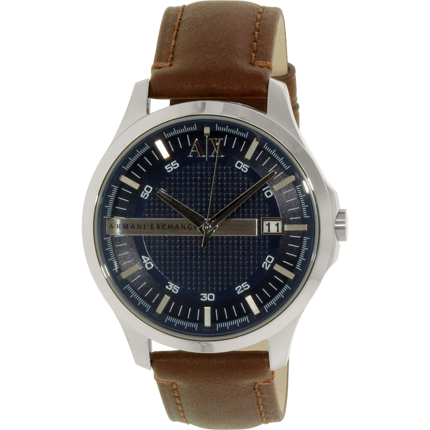 a3e911723d3 Shop Armani Exchange Men s Hampton Brown Leather Quartz Dress Watch - Free  Shipping Today - Overstock.com - 18617076