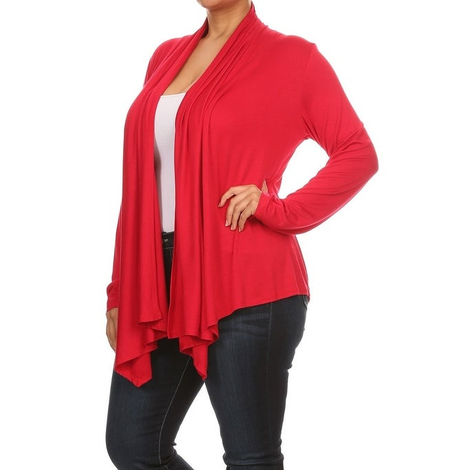 de5c42192e4 Shop Women Plus Size Long Sleeve Jacket Casual Cover Up Red - Free Shipping  On Orders Over  45 - Overstock.com - 17828749