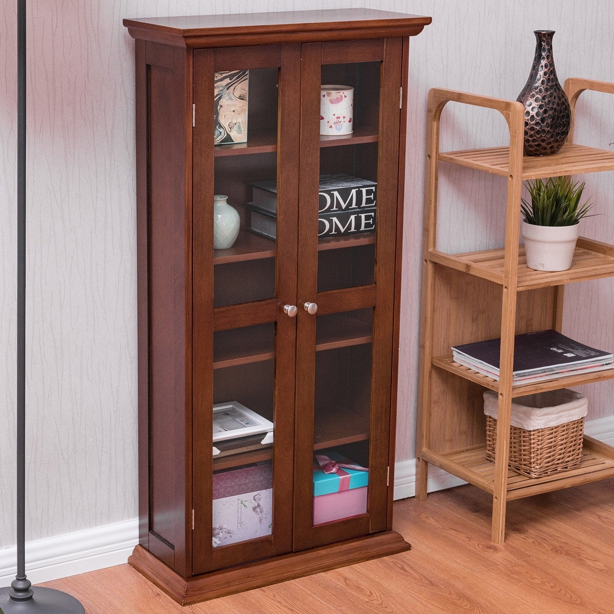 Costway 44 5 Wood Media Storage Cabinet Cd Dvd Shelves Tower Gl Doors Walnut Free Shipping Today 20680929