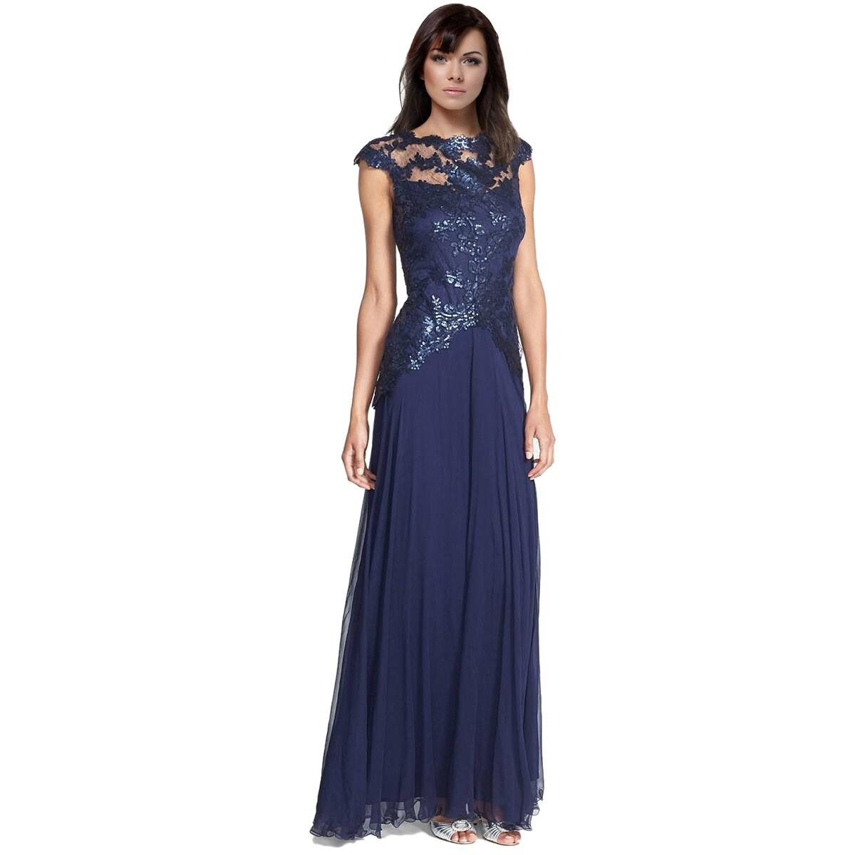 Shop Tadashi Shoji Sequined Lace Cap Sleeve Evening Gown Dress ...