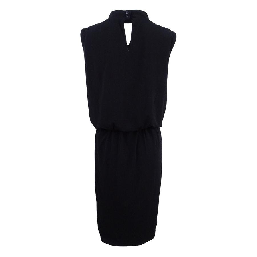 Shop Nine West Women\'s Plus Size Mock-Neck Blouson Dress - Black ...