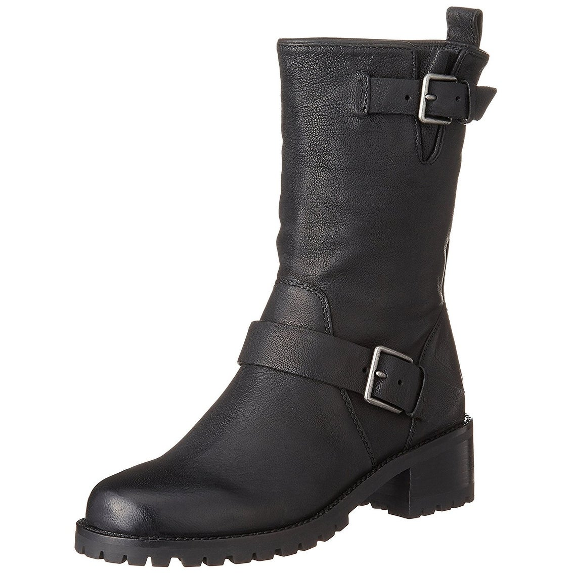 b03d9c9733564 Cole Haan Womens Hemlock Leather Round Toe Mid-Calf Motorcycle Boots