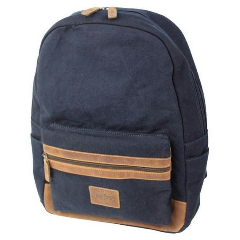 a1fa870640e Shop Rawlings Canvas Collection Backpack Dark Denim Leather Navy Laptop  Slot V164-400 - 13