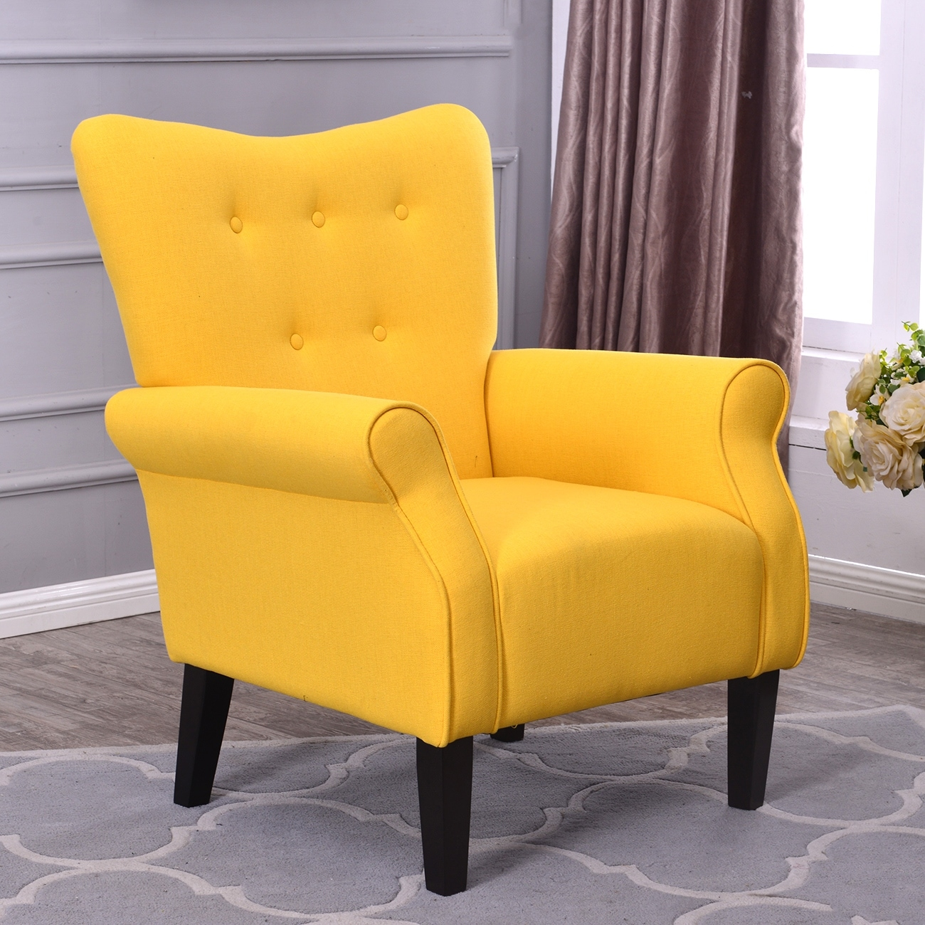 Charmant Shop Belleze Modern Linen Accent Chair Armrest Living Room W/ Wood Leg,  Citrine Yellow   Free Shipping Today   Overstock.com   18079763