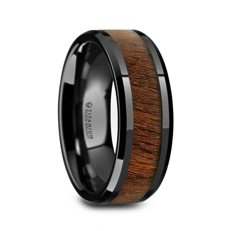 2e8d134a59069 Thorsten Kony | Titanium Rings for Men | Black Titanium Polished Beveled  Edges Black Walnut Wood Inlaid Men's Wedding Ring