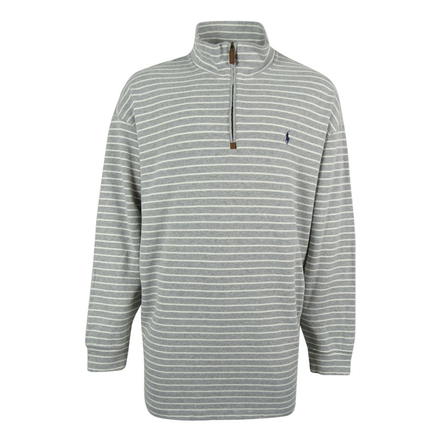 Shop Polo Ralph Lauren Mens Striped French Rib Sweater 3xb Grey