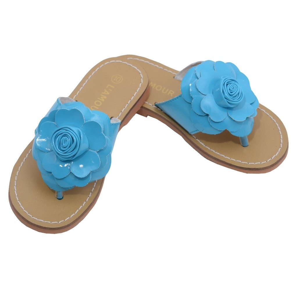 810a61b1c Shop L Amour Toddler Girls Blue Patent Flower Flip Flop Sandals 7-10 Toddler  - Free Shipping On Orders Over  45 - Overstock - 23089613