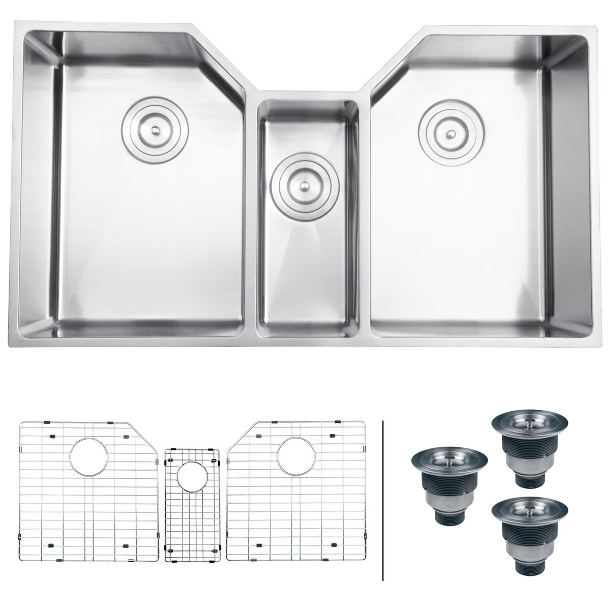 Ruvati Rvh8500 Gravena 35 Undermount Triple Basin 16 Gauge Stainless Steel Kitchen Sink With 3 Racks Basket Strainers