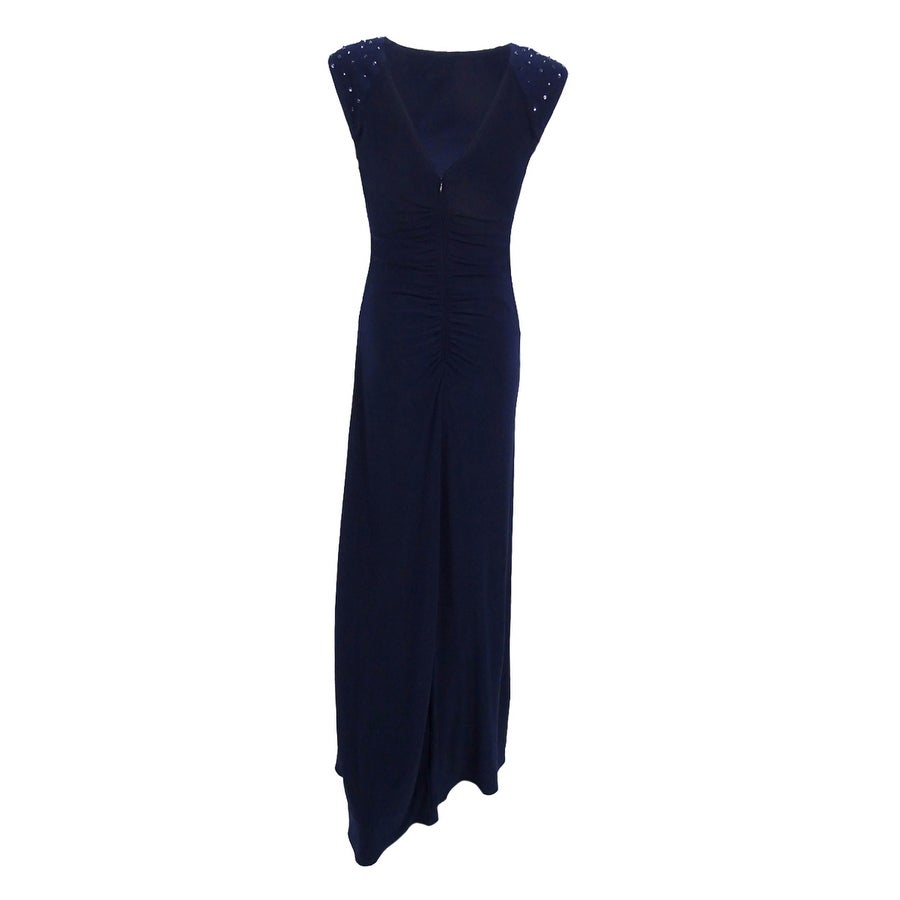 X by Xscape Women\'s Embellished Cap-Sleeve Gown (4, Navy) - Navy - 4 ...