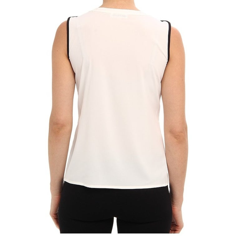 1c095d4a2f9638 Shop Calvin Klein NEW White Black Piped Women's Size Large L Blouse Shell -  Free Shipping On Orders Over $45 - Overstock - 18359584