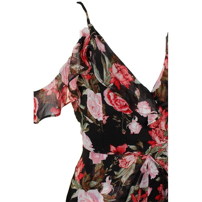 db5cf82a2356 Shop Material Girl Juniors Black Combo Rose-Print Sleeveless Ruffled Romper  XL - Free Shipping On Orders Over  45 - Overstock - 24335065