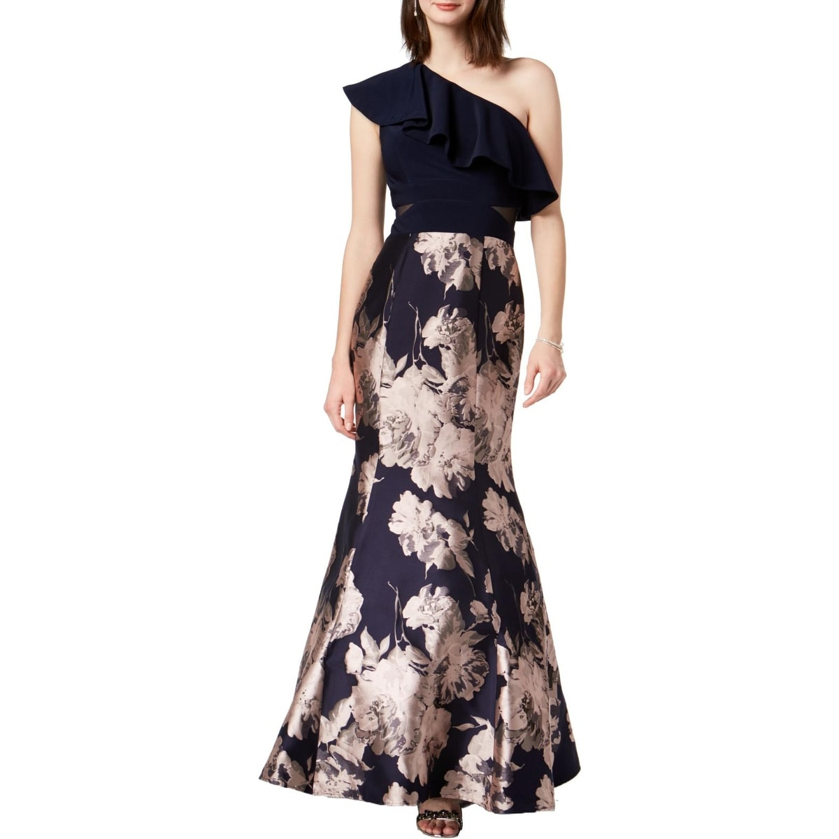 cea9984f92795 Shop Xscape Womens Evening Dress One Shoulder Floral Print - Free Shipping  Today - Overstock - 27619622