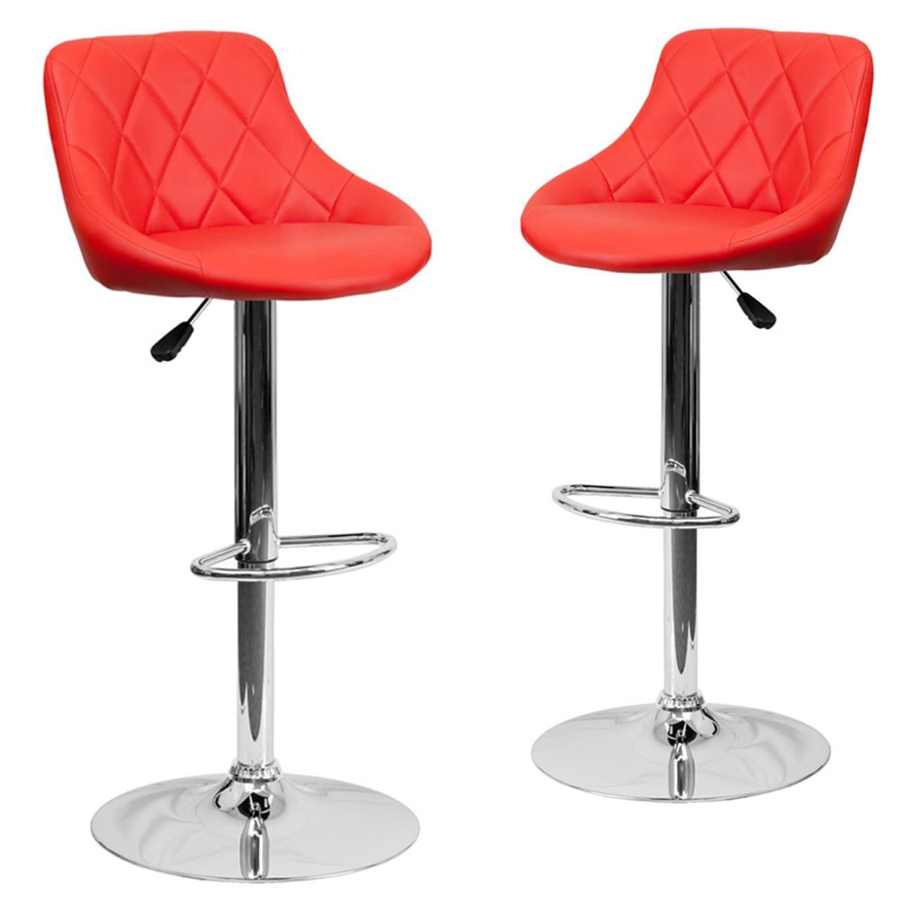 Belleze Set Of 2 Faux Leather Adjule Bar Stools Back Counter Height Swivel Stool Red Free Shipping Today 17833277