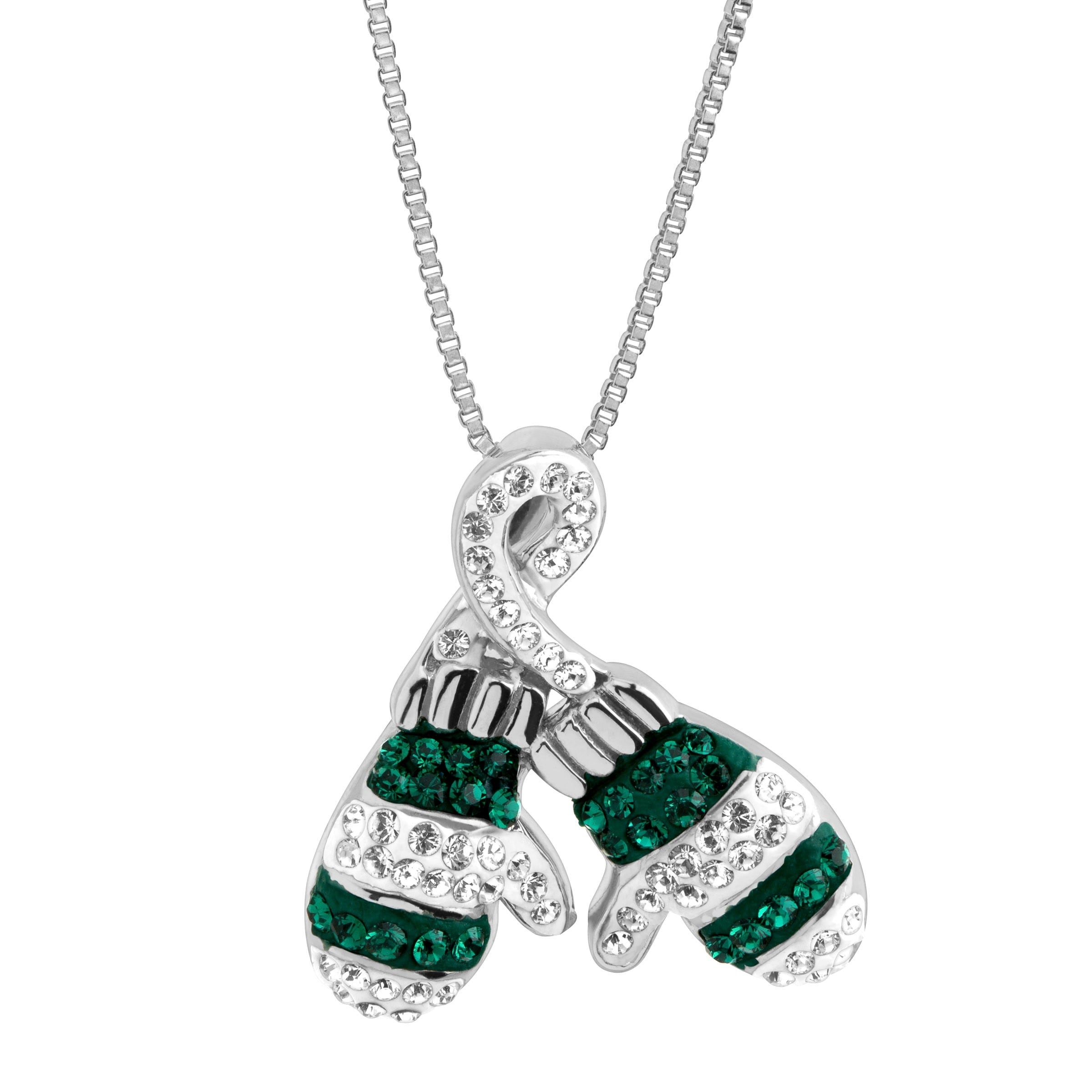 3916e02f46a6 Shop Crystaluxe Striped Mittens Pendant with Swarovski Crystals in Sterling  Silver - White - On Sale - Free Shipping Today - Overstock - 18657992