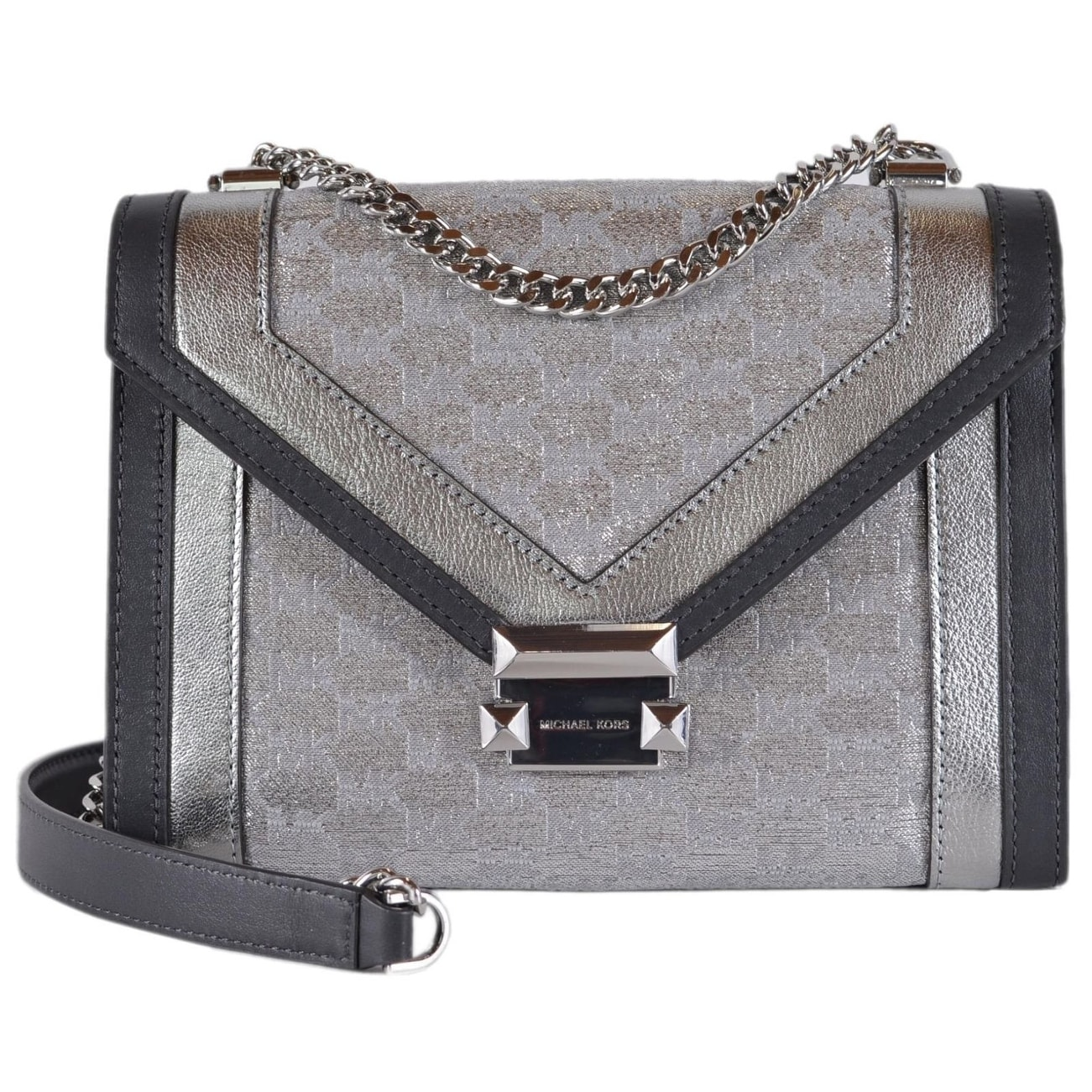 d681dc1c57 Michael Kors Whitney Large Metallic Logo Jacquard Convertible Shoulder Bag