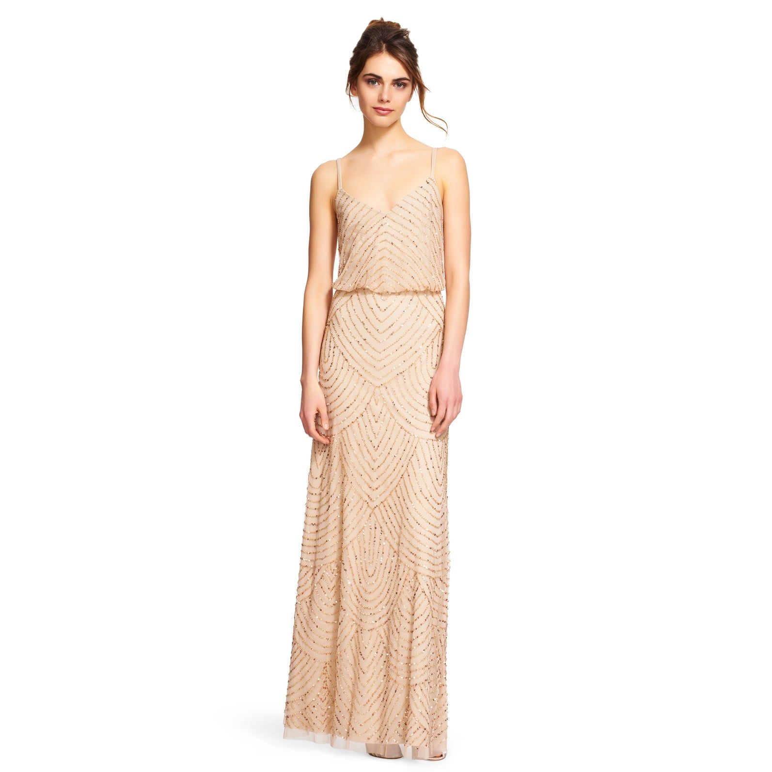 0f7cae4784 Shop Adrianna Papell Women s Long Beaded Blouson Gown - Free ...