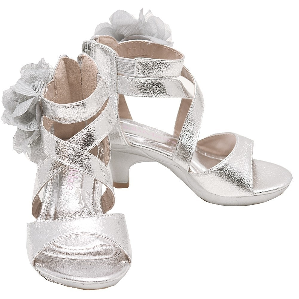 f1daab279775 Shop Bella Marie Little Girls Silver Criss-Cross Strap Low Heel Sandals -  Free Shipping On Orders Over  45 - Overstock - 23088381