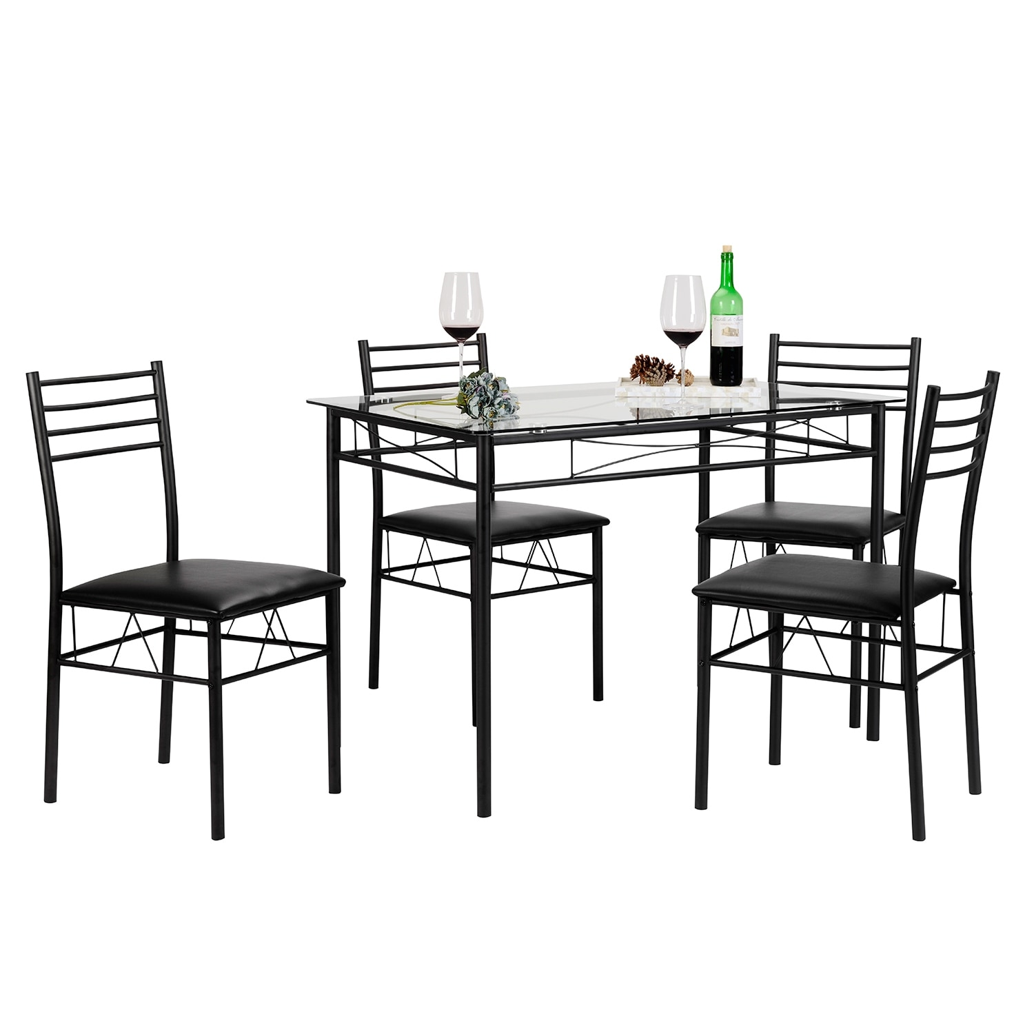 Kitchen Dining Table Set,Glass Table and 4 Chairs(Black/Silver ...