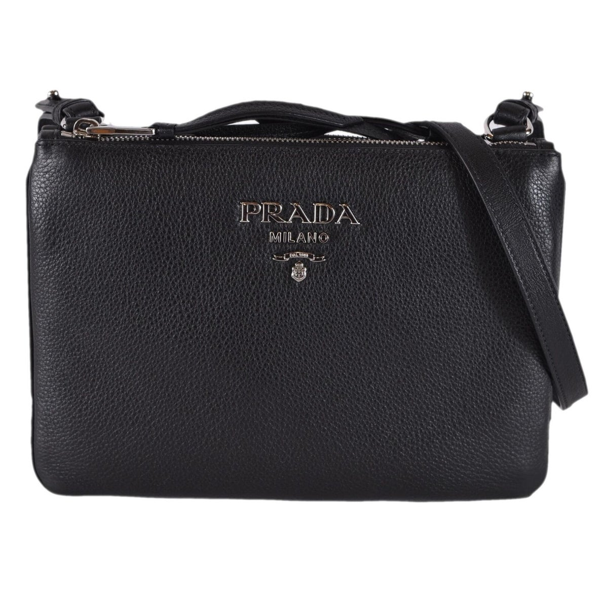 f99897b53d46b8 Shop Prada 1BH046 Black Vitello Leather Bandoliera Double Zip Crossbody  Purse Bag - Free Shipping Today - Overstock - 27147482