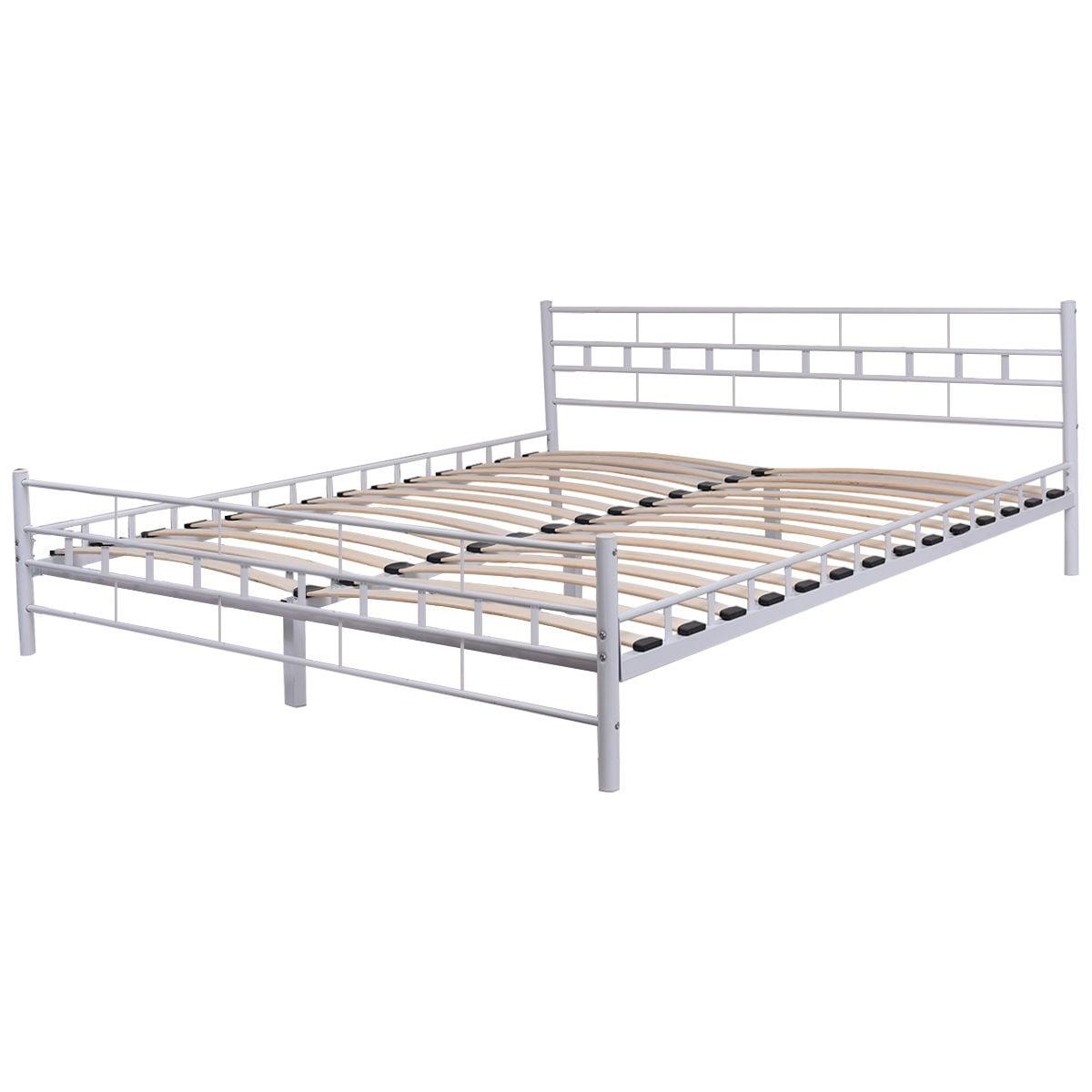 Shop Costway White Queen Size Wood Slats Bed Frame Platform ...
