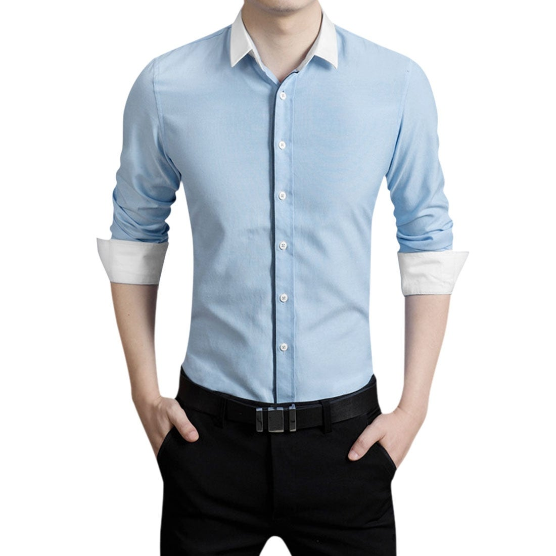 Shop Men Point Collar Long Sleeves Single Breasted Contrast Color