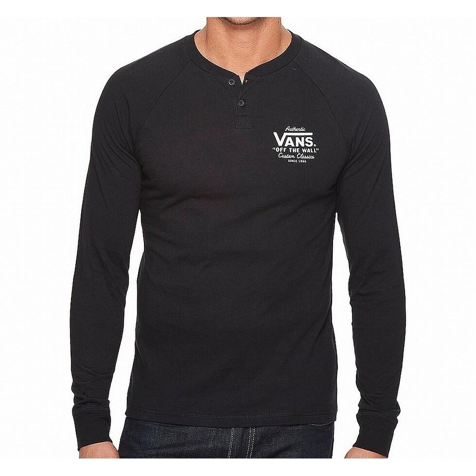 c30d4d0f01 Shop Vans Black Mens Size XL Logo Print Long Sleeve Henley Shirt - Free  Shipping On Orders Over  45 - Overstock - 27198759