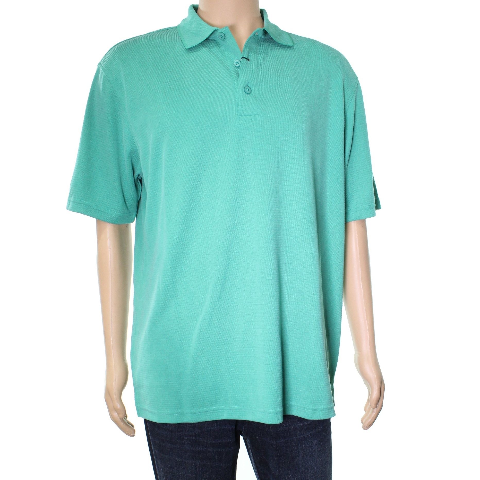 Bugatchi New Solid Green Emerald Mens Size Large L Polo Rugby Shirt