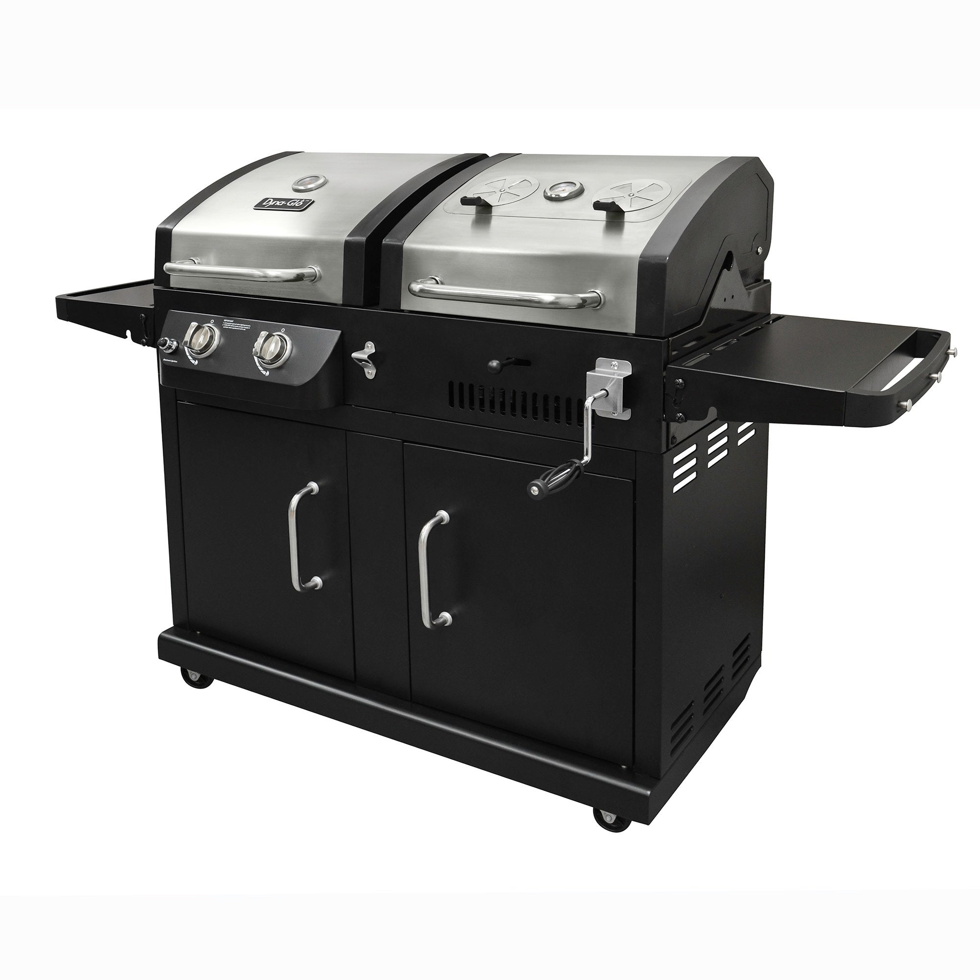 Dyna Glo Dgb730snb D 2 Burner 24 000 Btu Gas And Charcoal Bbq Grill With Adjule Tray 952 Square Of Cooking E