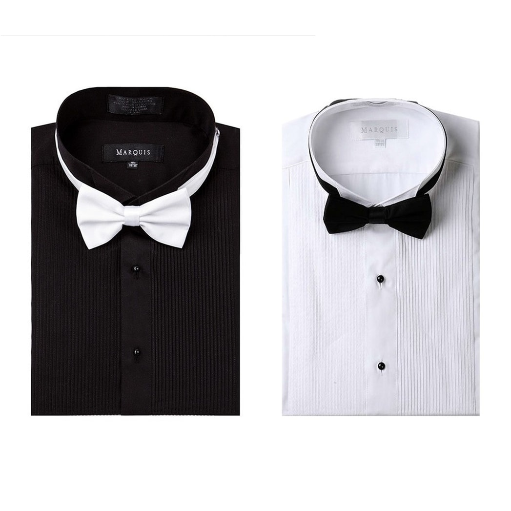 Shop Marquis Wing Tip Collar Tuxedo Slim Fit Shirt With Bow Tie