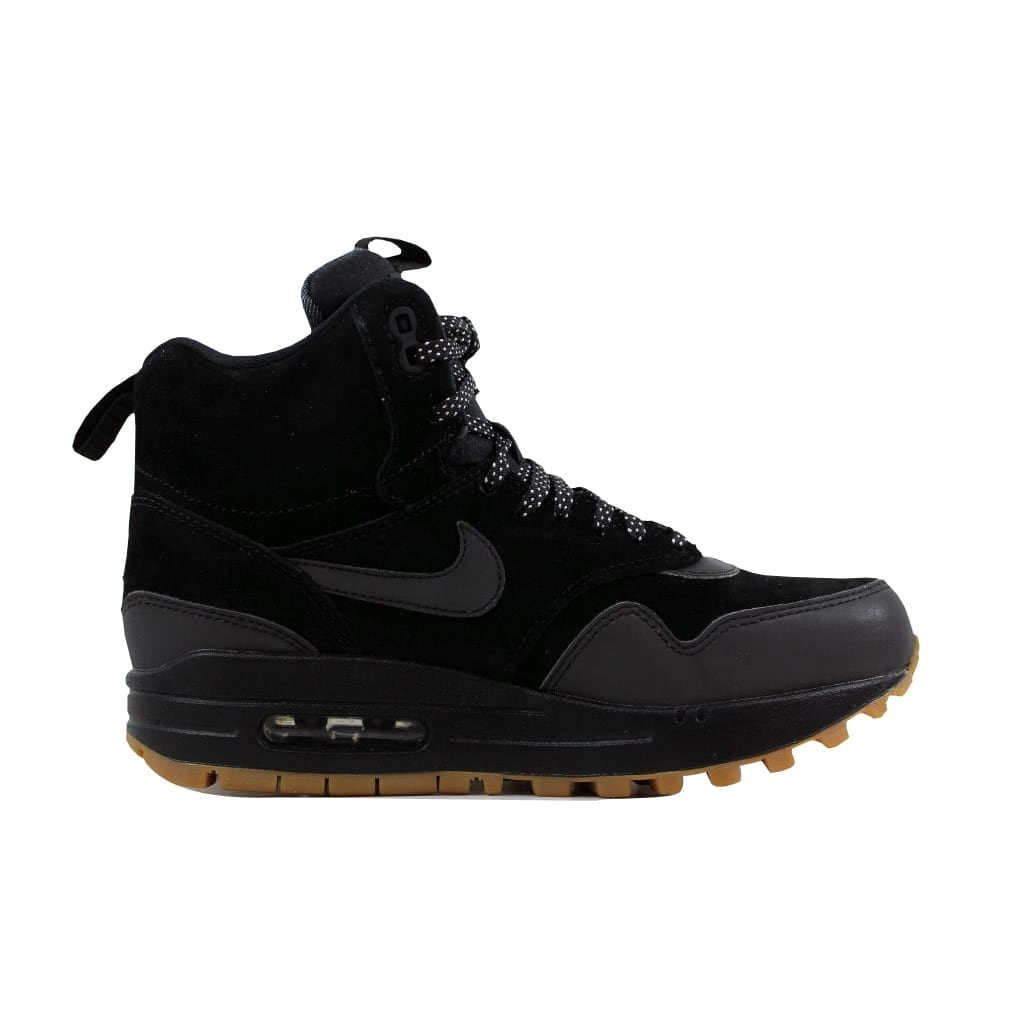 separation shoes 4c0da 6790d Shop Nike Women s Air Max 1 Mid Sneakerboot Black Black-Gum Medium Brown  685267-003 - Free Shipping Today - Overstock - 21893257