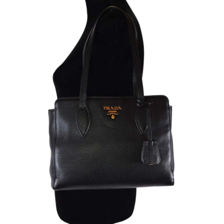 8fcf06930928 Shop Prada 1BG112 Vitello Phenix Black Pebbled Leather Shoulder Bag Tote  Purse - Free Shipping Today - Overstock - 26235142