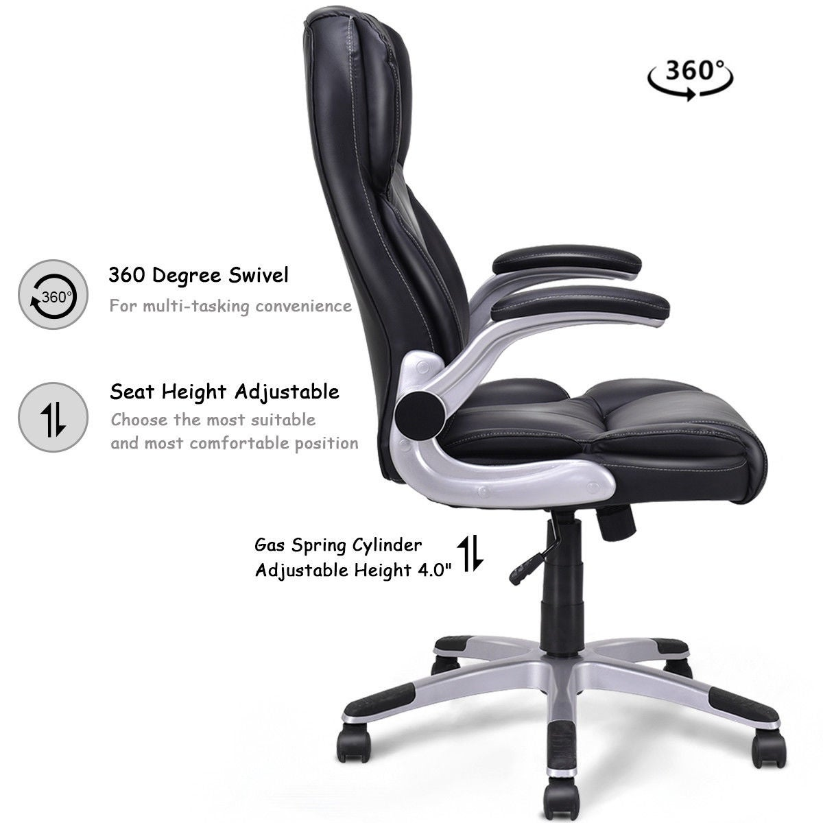 leather swivel office chair. Shop Costway High Back Executive Office Chair PU Leather Swivel Desk Task Computer Black - Free Shipping Today Overstock.com 19567339