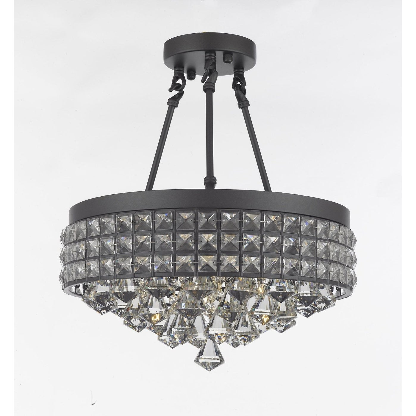 Semi Flush Mount French Empire Crystal Chandelier Crystal Iron