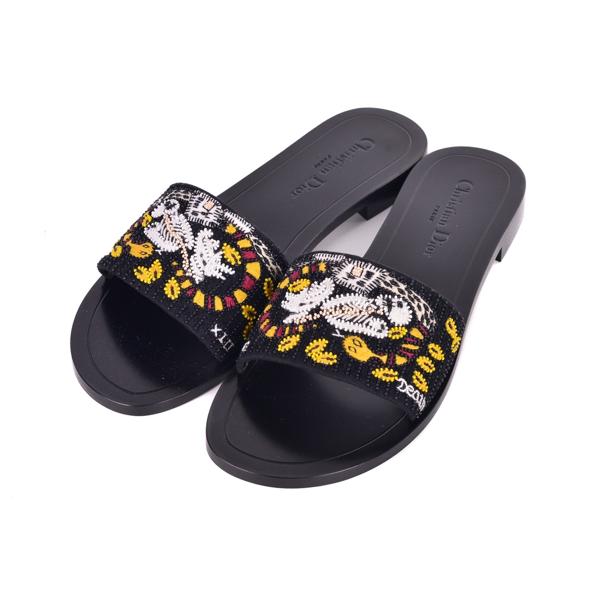 1dd2ae547049 Shop Dior Womens Black Dior Tarot Death Embroidered Clog Slippers - Free  Shipping Today - Overstock - 26281471