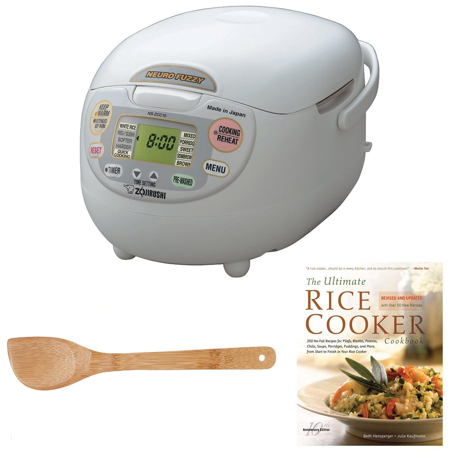 Shop Zojirushi NS-ZCC10 Neuro Fuzzy Rice Cooker & Warmer (1.0 Liter) Bundle  with 15-Inch Bamboo Stir Fry Spatula and Cookbook - Free Shipping Today ...