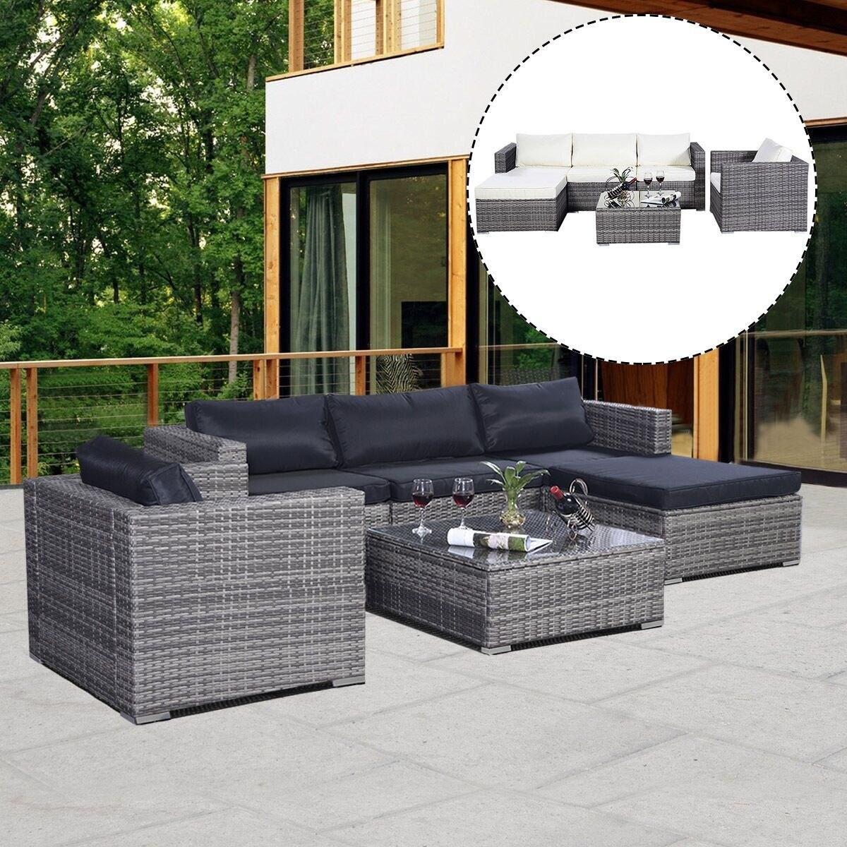 Preferred Costway 6PC Furniture Set Patio Sofa PE Gray Rattan Couch 2 Set  KQ44
