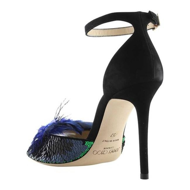 c525f655241 Shop Jimmy Choo Women s Annie 100 Sequin Feather High-Heel Sandal Black Blue  Mix Suede Feather Embroidery - Free Shipping Today - Overstock - 21727464