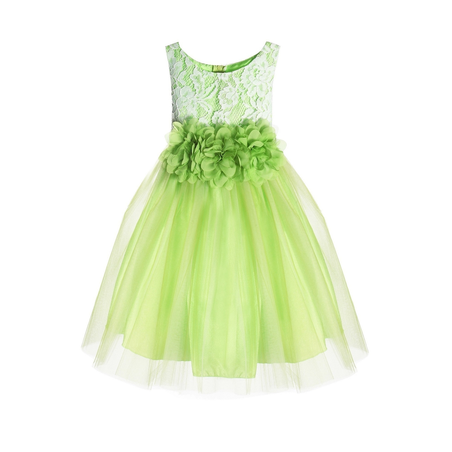 190b44cc691c8 Shop Kids Dream Little Girls Green Floral Lace Illusion Tulle Flower Girl  Dress - Free Shipping On Orders Over $45 - Overstock - 23078842
