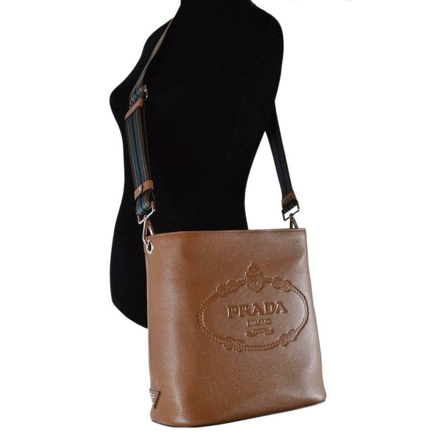 3c0badde1eba21 Shop Prada 1BE023 Vitello Secchiello Tan Leather Embossed Logo Crossbody  Purse - Cannella - Free Shipping Today - Overstock - 27973993