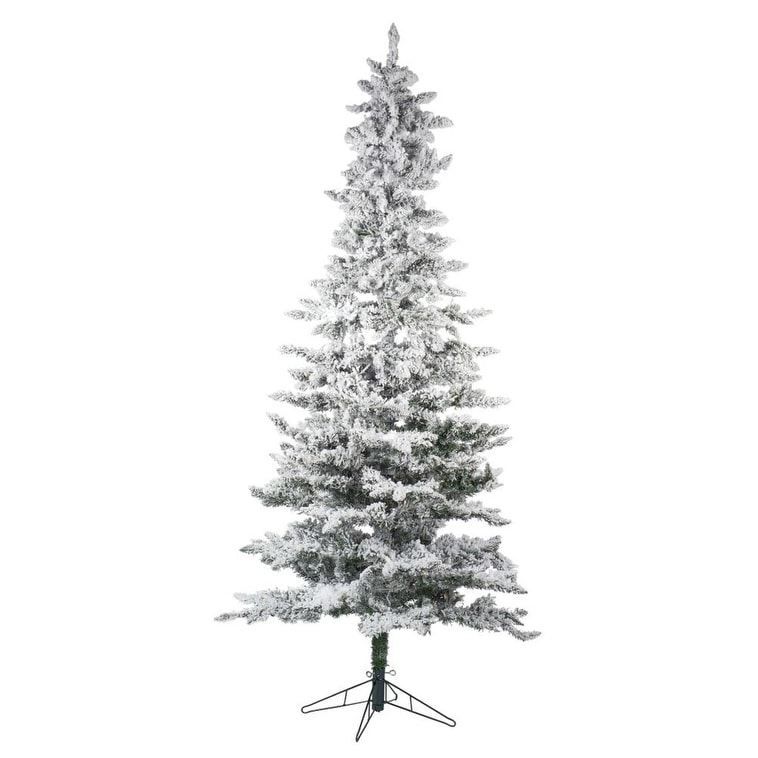 Shop 7.5\' White and Natural Green Pre-Lit Slim Flocked Tree with 450 ...