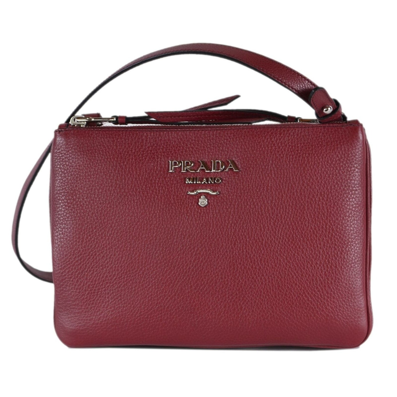 59ecfea8b8b6d9 Prada 1BH046 Cerise Vitello Leather Bandoliera Double Zip Crossbody Bag -  Red