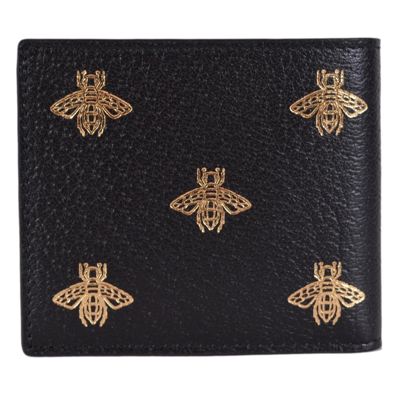 9549e3c0a0c2fa Shop Gucci Men's Black Leather Golden Bee Star Design Bifold Wallet - 4.5