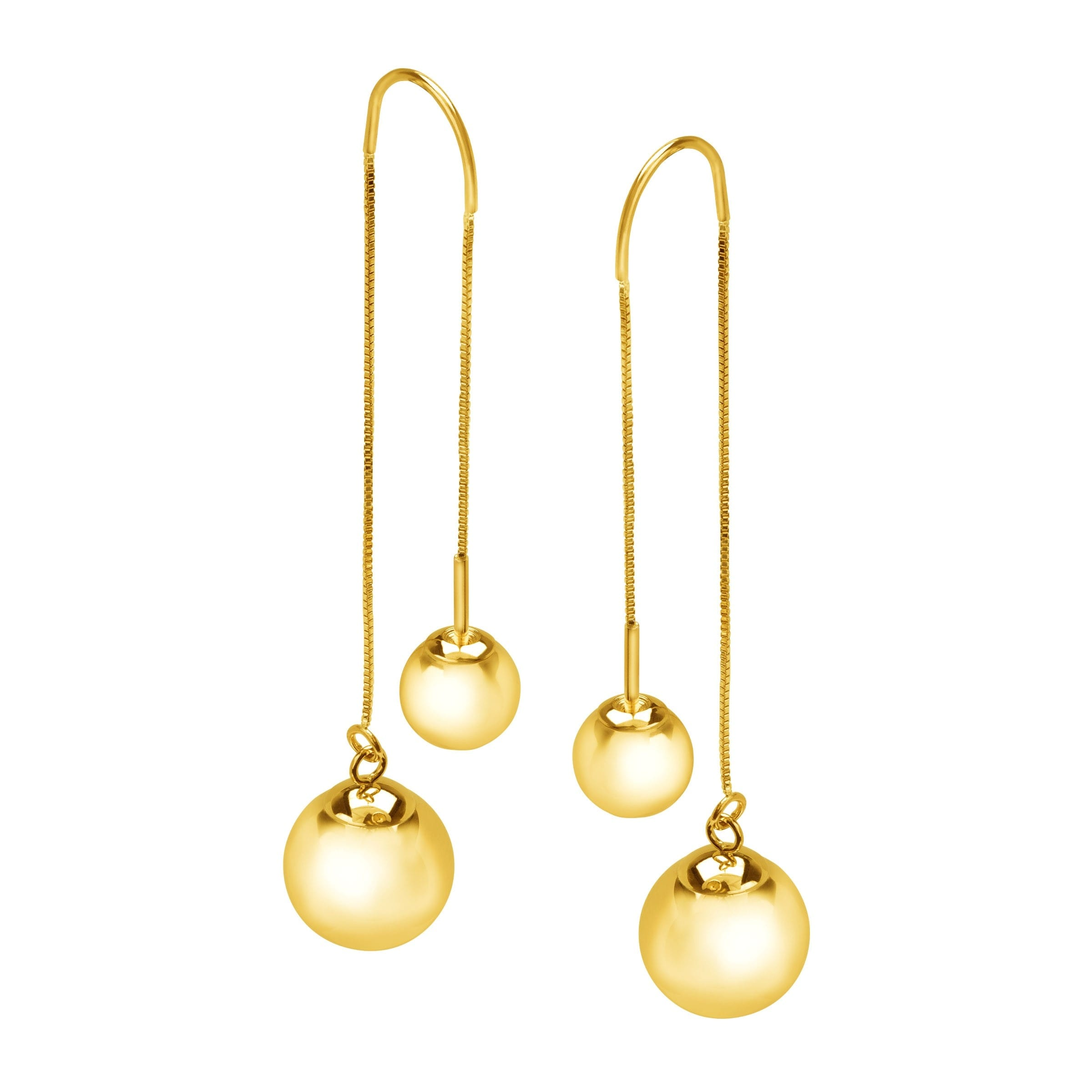 548c9f273 Shop Eternity Gold Ball Stud Threader Drop Earrings in 10K Gold - Yellow -  On Sale - Free Shipping Today - Overstock - 15422153