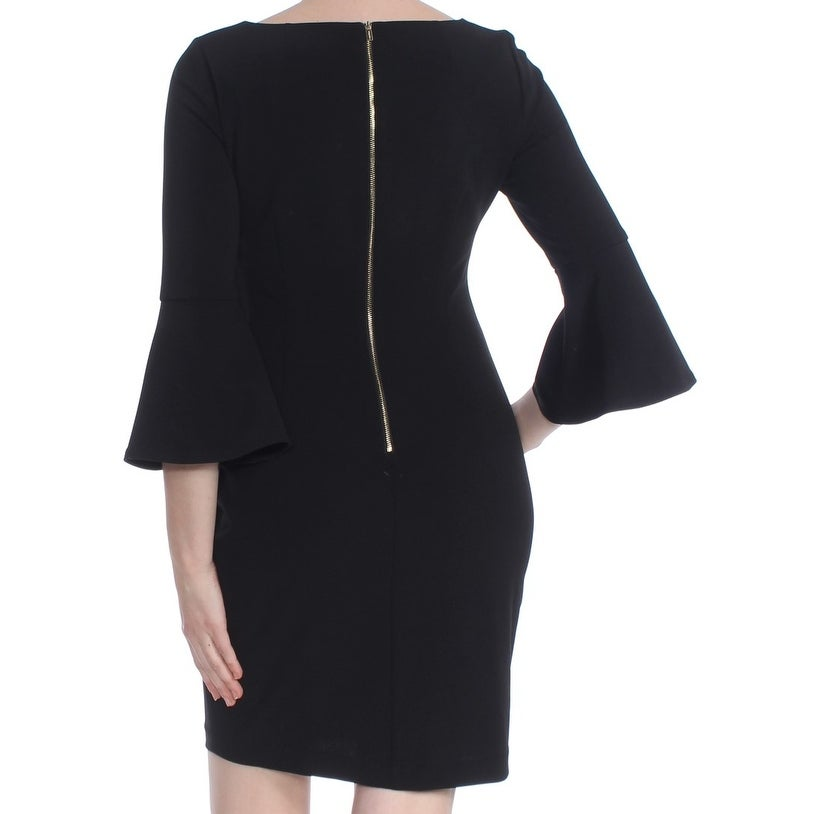 14fc2c8dc68 Shop CALVIN KLEIN Womens Black Bell Sleeve Above The Knee Sheath Cocktail  Dress Petites Size  8 - Free Shipping Today - Overstock - 27810608