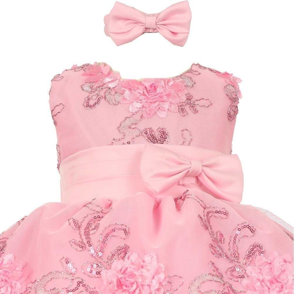 shop baby girls pink sequin floral embroidery flower girl christmas dress 3 24m free shipping on orders over 45 overstockcom 19315634