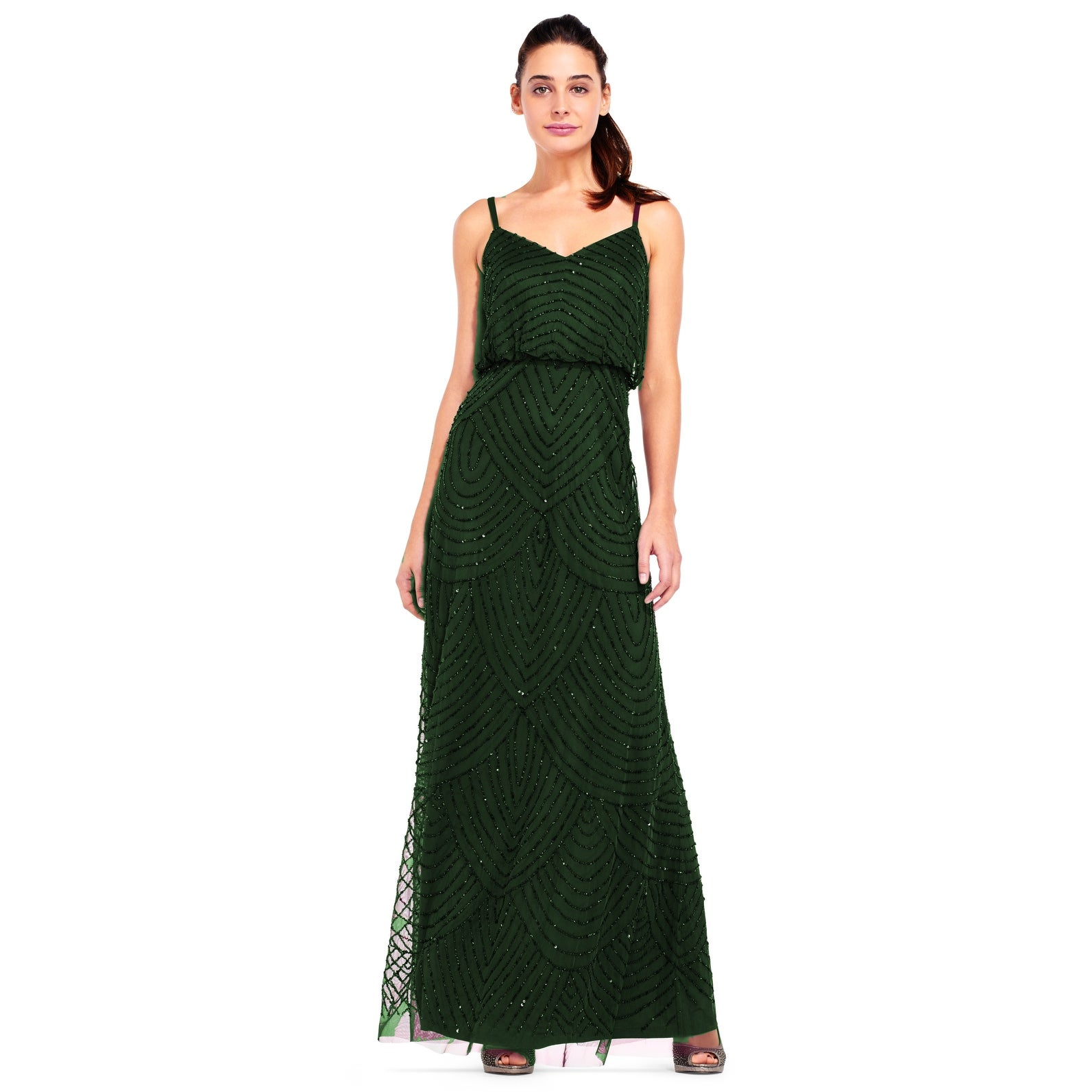 b6da75da204 Shop Adrianna Papell Women s Long Beaded Blouson Gown - Free Shipping Today  - Overstock - 20263509
