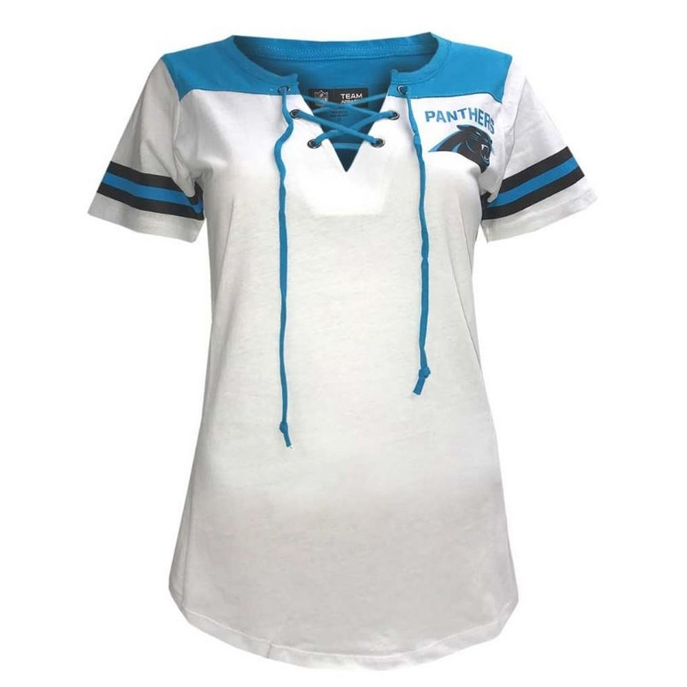 Shop New Era Women s NFL Carolina Panthers T-Shirt Drawstring V-Neck Tee  C40061L - Free Shipping On Orders Over  45 - Overstock - 22369555 cdae9badc1