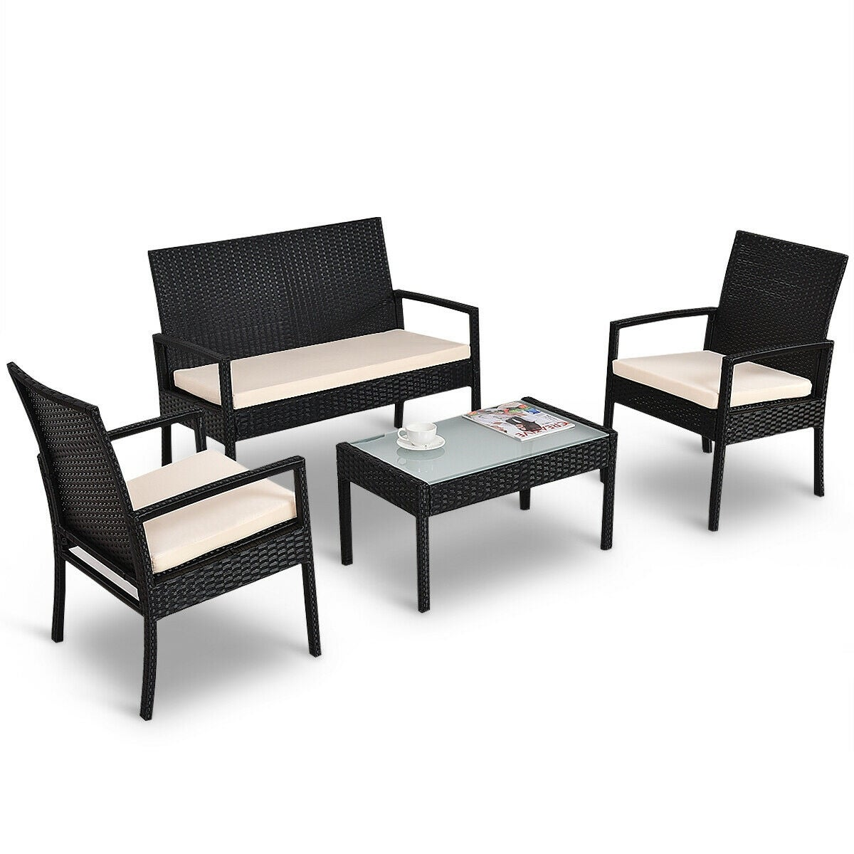 Shop Costway 4 Pcs Outdoor Patio Furniture Set Table Chair Sofa